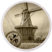 Sepia Colored No Tilting At Windmills Round Beach Towel