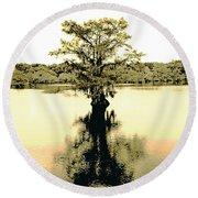 Sepia Cypress Chicot Sp Louisiana Round Beach Towel