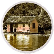 Sepia Floating House Round Beach Towel
