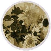 Sepia Garden Sunflower Bouquet Round Beach Towel