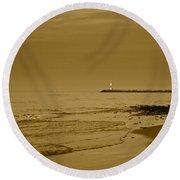 Sepia Lighthouse Round Beach Towel