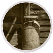 Sepia Photograph Of Vintage Creamery Can By The Old Homestead In 1880 Town Round Beach Towel