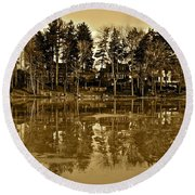 Sepia Reflection Round Beach Towel