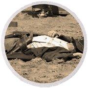 Sepia Rodeo Gunslinger Victim Round Beach Towel