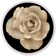 Sepia Rose Flower Portrait Round Beach Towel