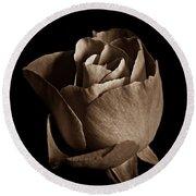 Sepia Rose Portrait 2 Round Beach Towel