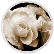 Sepia Roses With Rain Drops Round Beach Towel by Jennie Marie Schell
