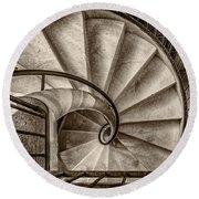 Sepia Spiral Staircase Round Beach Towel
