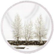 Sepia Square Diptych Tree 12-7693 Set 1 Of 2 Round Beach Towel