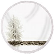 Sepia Square Diptych Tree 12-7693 Set 2 Of 2 Round Beach Towel