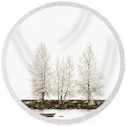 Sepia Square Tree Round Beach Towel