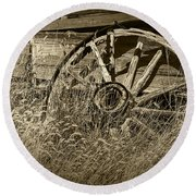 Sepia Toned Photo Of An Old Broken Wheel Of A Farm Wagon Round Beach Towel