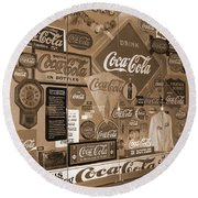 Sepia Toned Signs Of Coca Cola Round Beach Towel