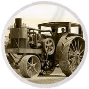 Sepia Tractor Round Beach Towel