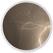 Sepia Tropical Thunderstorm Night  Round Beach Towel