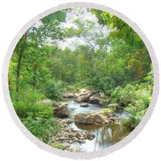 September Arrives At The Unami Creek Round Beach Towel