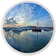 September Morning At Lyme Regis Round Beach Towel