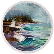 September Storm Lake Superior Round Beach Towel