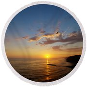 September Sunday Sunset  Round Beach Towel