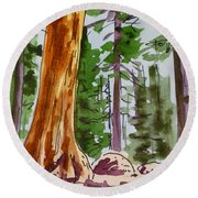 Sequoia Park - California Sketchbook Project  Round Beach Towel