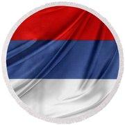 Serbian Flag Round Beach Towel
