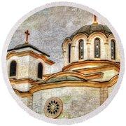Serbian Orthodox Church - San Marcos California Round Beach Towel