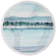 Serene Lake View Round Beach Towel