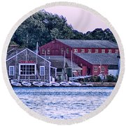 Serene Seaport Round Beach Towel