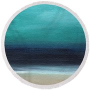Serenity- Abstract Landscape Round Beach Towel