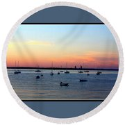 Serenity At The Bay Round Beach Towel