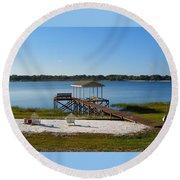 Serenity At The Lake Round Beach Towel