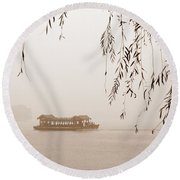 Serenity In Sepia Round Beach Towel