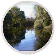 Serenity Pond Reflection At Limehouse Ontario Round Beach Towel