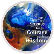 Serenity Prayer 4 - By Sharon Cummings Round Beach Towel