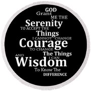 Serenity Prayer 5 - Simple Black And White Round Beach Towel