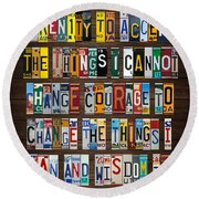 Serenity Prayer Reinhold Niebuhr Recycled Vintage American License Plate Letter Art Round Beach Towel