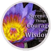 Serenity Prayer With Lotus Flower By Sharon Cummings Round Beach Towel