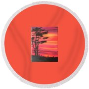 Serenity Tree Round Beach Towel