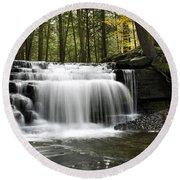 Serenity Waterfalls Landscape Round Beach Towel by Christina Rollo