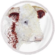 Sergeant Major Is A Hereford Bull Round Beach Towel