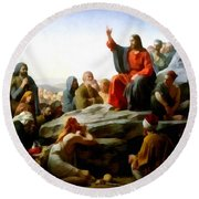 Sermon On The Mount Watercolor Round Beach Towel by Carl Bloch