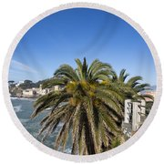 Sestri Levante And Palm Tree Round Beach Towel