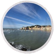 Sestri Levante With Blue Sky And Clouds Round Beach Towel