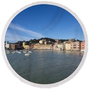 Sestri Levante With Blue Sky Round Beach Towel