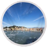 Sestri Levante With Clouds Round Beach Towel