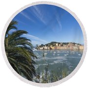 Sestri Levante With Palm Tree Round Beach Towel