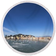 Sestri Levante With The Sea And Blue Sky Round Beach Towel