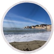 Sestri Levante With Waves Round Beach Towel