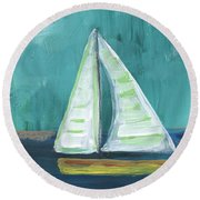 Set Free- Sailboat Painting Round Beach Towel