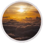 Setting Sun Above The Clouds Round Beach Towel